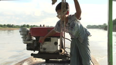 Inwa Ava, crossing the river by ferryboat Stock Footage