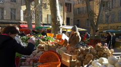 Fruit and Vegtable stall - Farmers Market - Aix en Provence France - HD 4K+ Stock Footage