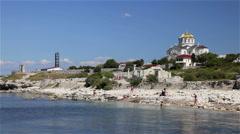 BEACH ST VLADIMIR CATHEDRAL CHERSONES UKRAINE Stock Footage
