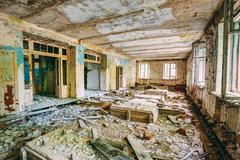 Dilapidated passage in school of Pripyat. Chernobyl Disaster - stock photo