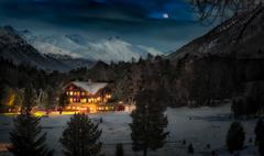 Alpin hut in snow forest Stock Photos
