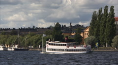 Stockholm ferry on the Riddarfjärden Stock Footage
