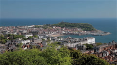 SOUTH BAY CASTLE SCARBOROUGH YORKSHIRE ENGLAND Stock Footage