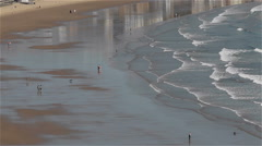 PEOPLE BEACH SCARBOROUGH NORTH YORKSHIRE ENGLAND - stock footage