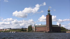 Stockholm City Hall from across the  Riddarfjärden Stock Footage