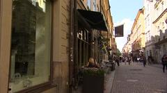 Cobblestone street in Gamla Stan, Stockholm Stock Footage