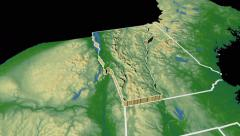 Vermont state extruded on the physical map of the USA isolated on black Stock Footage