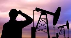 black silhouette of oil worker and pump jack - stock illustration