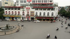 View of Busy Traffic Intersection from Above  - Dai Phun Noac - Hanoi Vietnam Stock Footage