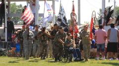 Lakota Veterans lead pow wow grand entry Stock Footage