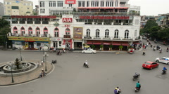 Time Lapse Daytime View of Traffic Intersection from Above - Hanoi Vietnam Stock Footage