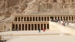 Tourists near temple of Hatshepsut in Egypt 4k Stock Footage