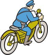 Stock Illustration of highway patrol policeman riding motorbike cartoon