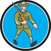 World war one soldier british marching circle cartoon Stock Illustration