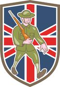 world war one soldier british marching cartoon shield - stock illustration