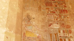 Ancient egypt images on wall - pan view 4k Stock Footage