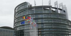 UE and Fench flag flies half-mast at the European Parliament - stock footage