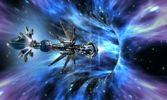 Spaceship entering a wormhole - stock illustration