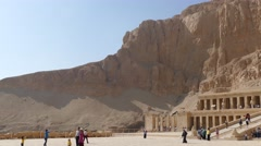 Tourists near temple of Hatshepsut in Egypt 4k Stock Footage
