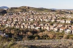 california suburban morning - stock photo