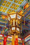 lamp in chinese temple at wat leng -noei-yi 2 bangkok, thailand. - stock photo