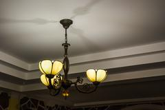 lamp metal ceiling light fixture - stock photo