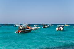 pattaya, thailand - december 31, 2014: tourist boat at beach, in ko lan ( lar - stock photo