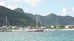 Sailboats near St Maarten Stock Footage