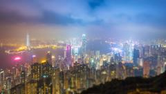 Time Lapse Day To Night Hong Kong City and Mist in Sky (tilt-shift) - stock footage