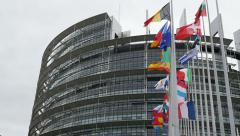 UE and Fench flag flies half-mast at the European Parliament Stock Footage