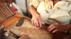 Cuban women rolling cigaros Stock Footage