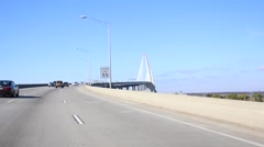 Driving Up On Arthur Ravenel Jr Bridge In Charleston Stock Footage
