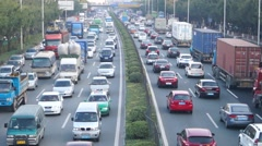 Shenzhen Baoan 107 National Highway Traffic landscape, in China Stock Footage
