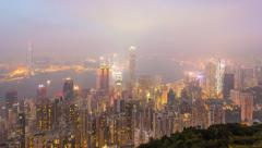 Stock Video Footage of Time Lapse Day To Night Hong Kong City and Mist in Sky (zoom in)