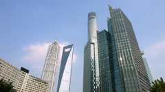 Stock Video Footage of 4K, UHD, Shanghai Skyline, Skyscrapers in Pudong Business District, China