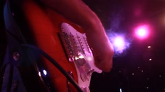 Rock band: rock concert - the electric guitar close up while playing Stock Footage