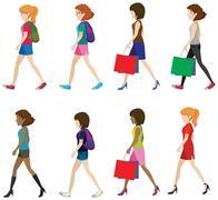 Faceless women - stock illustration