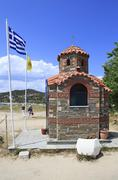 Chapel on the beach in Ouranoupoli - stock photo