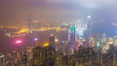 Night Hong Kong City and Mist in Sky (tilt-shift) - stock footage