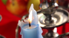 Candle in Sterling Silver Candelabra - stock footage