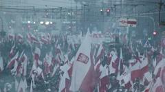 Sea of polish flags Stock Footage