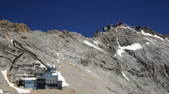 Zoom-in on the summit of Zugspitze Stock Footage