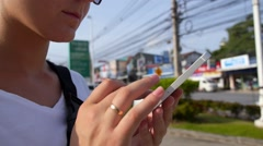 Closeup of Woman Using Smartphone Stock Footage