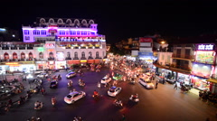 Time Lapse Night View of Traffic Intersection from Above  - Hanoi Vietnam Stock Footage
