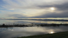 Flooded Peaceful Lake Sunset Stock Footage