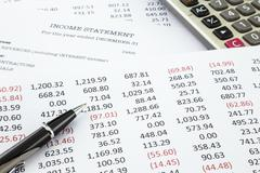 calculate income statement - stock photo