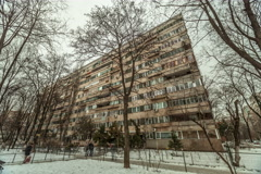 Time lapse eastern european communist architecture buildings establishments e Stock Footage