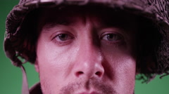 4K Closeup of a soldier on green screen - stock footage