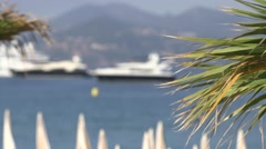 YACHTS MOORES OFF CANNES Stock Footage