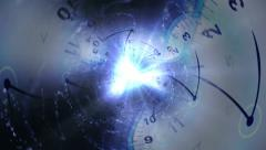 Time Travel Concept, Clocks Tunnel Background Stock Footage